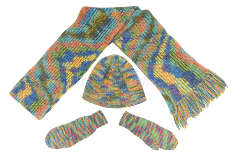 Hat, scarf, mittens. It is a set is out of mittens, scarf, hat stock photography