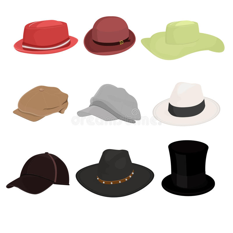 Free Hat Set Of Nine Isolate Royalty Free Stock Photo - 63798845