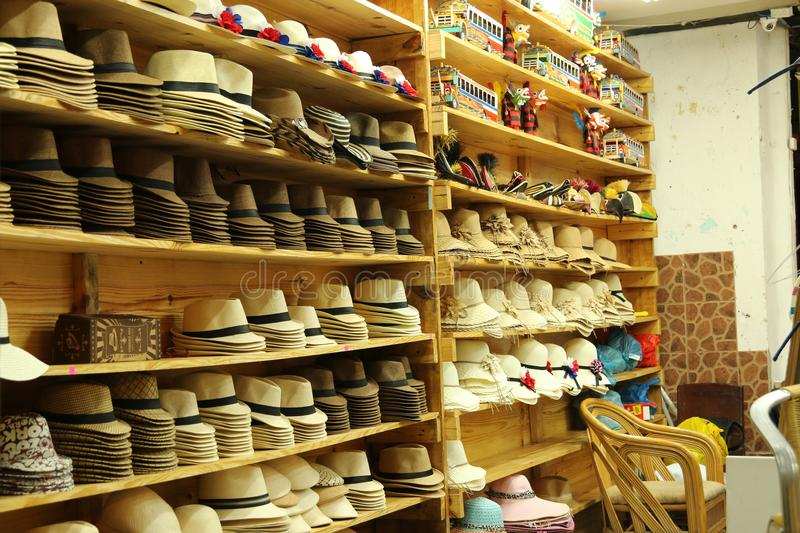 Hat shop in Panama City old town. stock images
