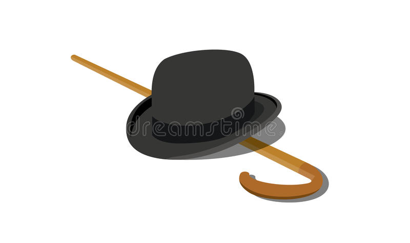 Hat and Stick royalty free illustration