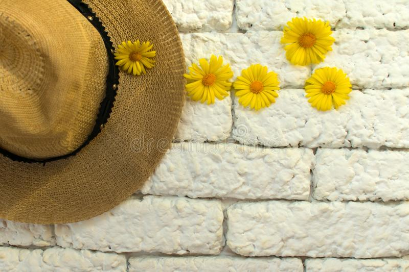 Hat and yellow daisies against a white brick wall. Hat and summer wild flowers on a white brick wall background royalty free stock images