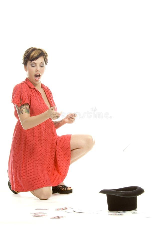Download Hat trick girl stock image. Image of happy, dance, dress - 710427