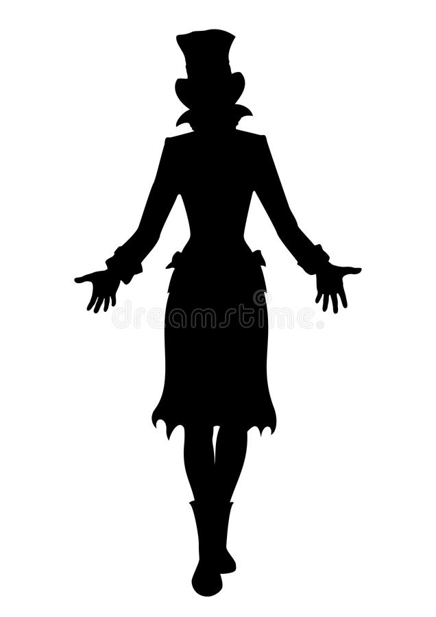 Hat woman silhouette. Silhouette of girl in tall hat. She is stretching hands forward. Available in vector EPS format stock illustration
