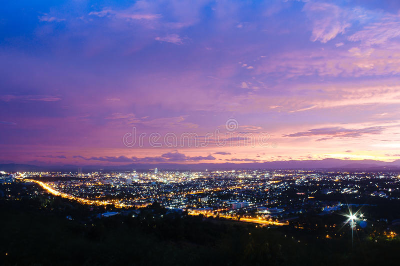 Hat Yai City at Night. In Songkla, Thailand. Shooting from Kho Hong Mountain stock photo