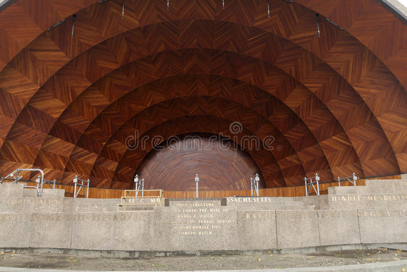 The Hatch Shell, waterfront esplanade, Boston. The Hatch Shell, located at Boston's Esplanade waterfront. Outdoor music concerts are held here. The names of some royalty free stock photography
