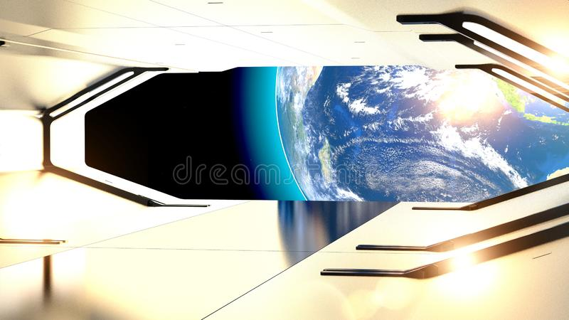 Hatch of a spaceship. Planet earth and conquest of space. Future and science fiction. Planet Earth seen from space, 3d rendering royalty free illustration
