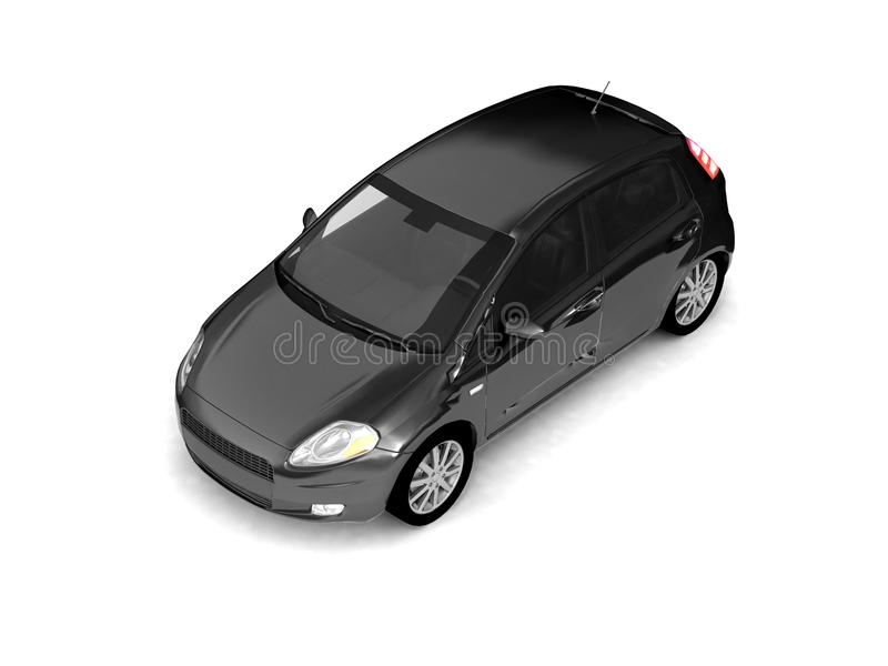 Hatchback black car top view royalty free stock images