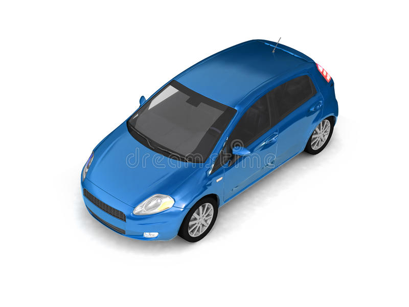 Download Hatchback Blue Car Top View Stock Illustration - Illustration of blue, isolated: 11205610