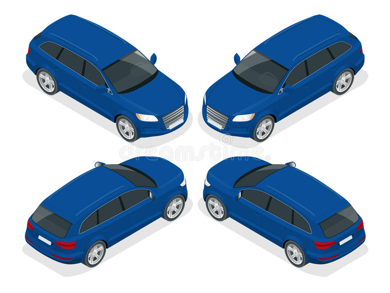 Hatchback car. Flat 3d vector isometric illustration. High quality city transport icon. vector illustration