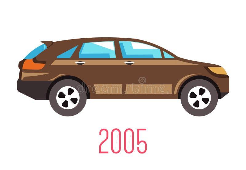 Hatchback car 2005 model isolated icon, vehicle stock illustration
