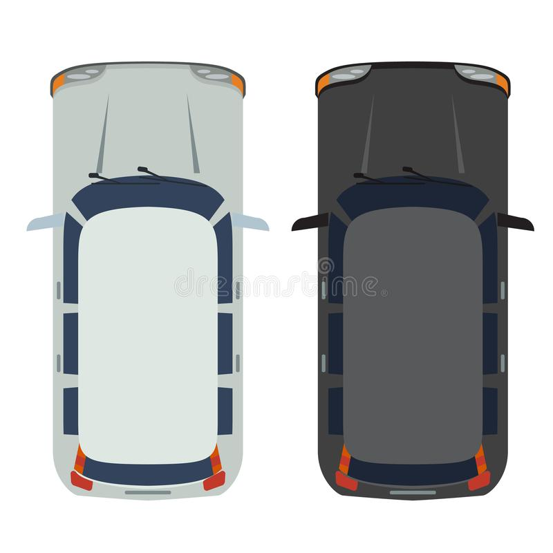 Hatchback Car top view. White and black Realistic and flat color style design vector. vector illustration