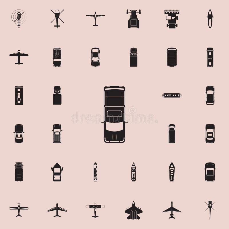 hatchback ikona Przewieziony widok od above ikony ogólnoludzkiego ustawiającego dla sieci i wiszącej ozdoby royalty ilustracja
