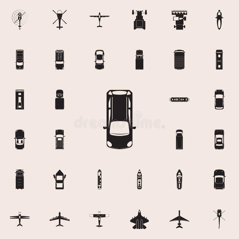 hatchback ikona Przewieziony widok od above ikony ogólnoludzkiego ustawiającego dla sieci i wiszącej ozdoby ilustracji