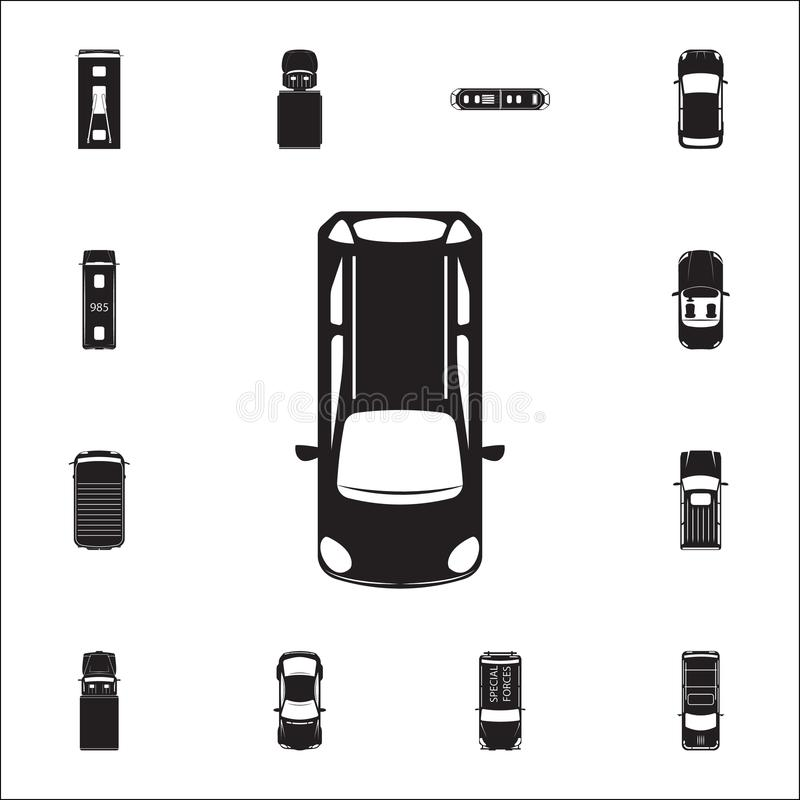 hatchback ikona Szczegółowy set Przewieziony widok od above ikon Premii ilości graficznego projekta znak Jeden inkasowe ikony ilustracji