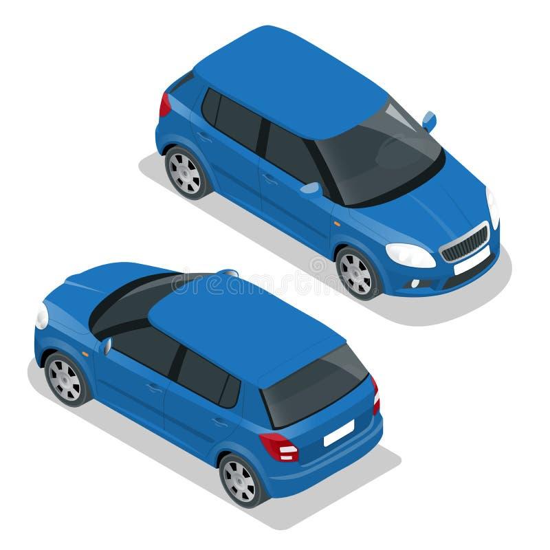 Hatchback samochód Płaska 3d Wektorowa isometric ilustracja Wysokiej jakości miasto transportu ikona ilustracji