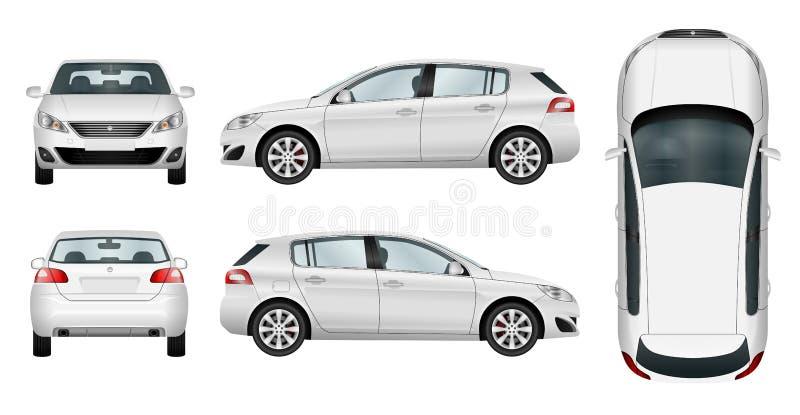 Hatchback samochodowy wektorowy szablon na białym tle ilustracji