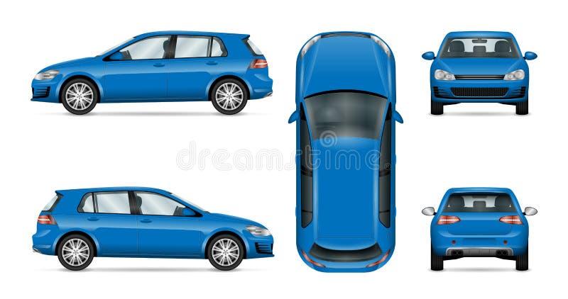 Hatchback samochodowy wektorowy szablon na białym tle royalty ilustracja