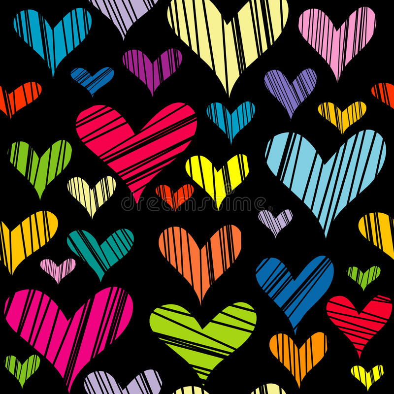 Hatched hearts seamless background royalty free illustration