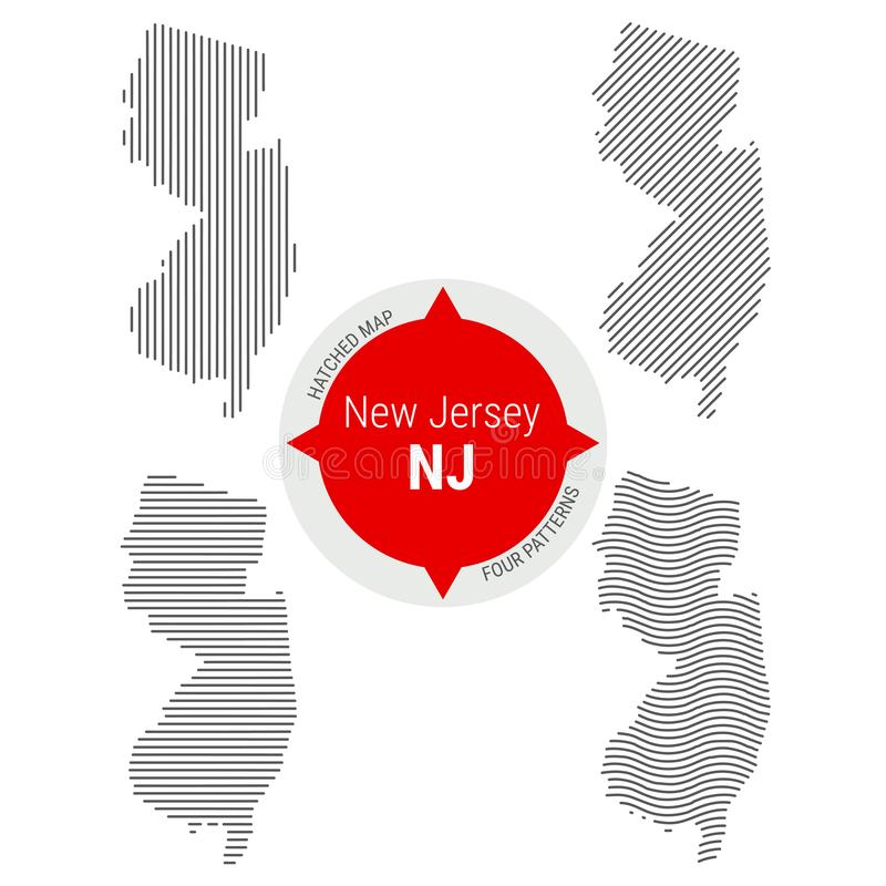 Hatched Pattern Vector Map of New Jersey. Stylized Simple Silhouette of New Jersey. Four Different Patterns royalty free illustration