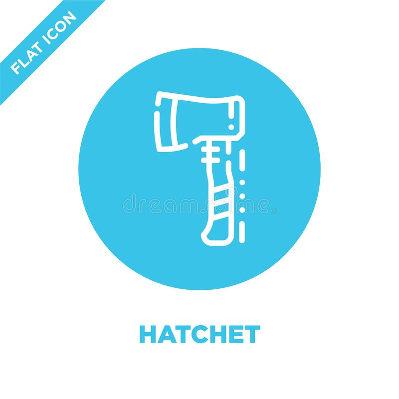 hatchet icon vector from camping collection. Thin line hatchet outline icon vector  illustration. Linear symbol for use on web and stock illustration