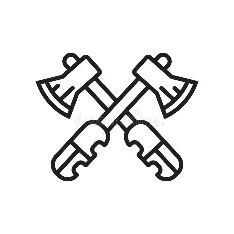 Hatchet icon vector sign and symbol isolated on white background, Hatchet logo concept. Hatchet icon vector isolated on white background for your web and mobile royalty free illustration