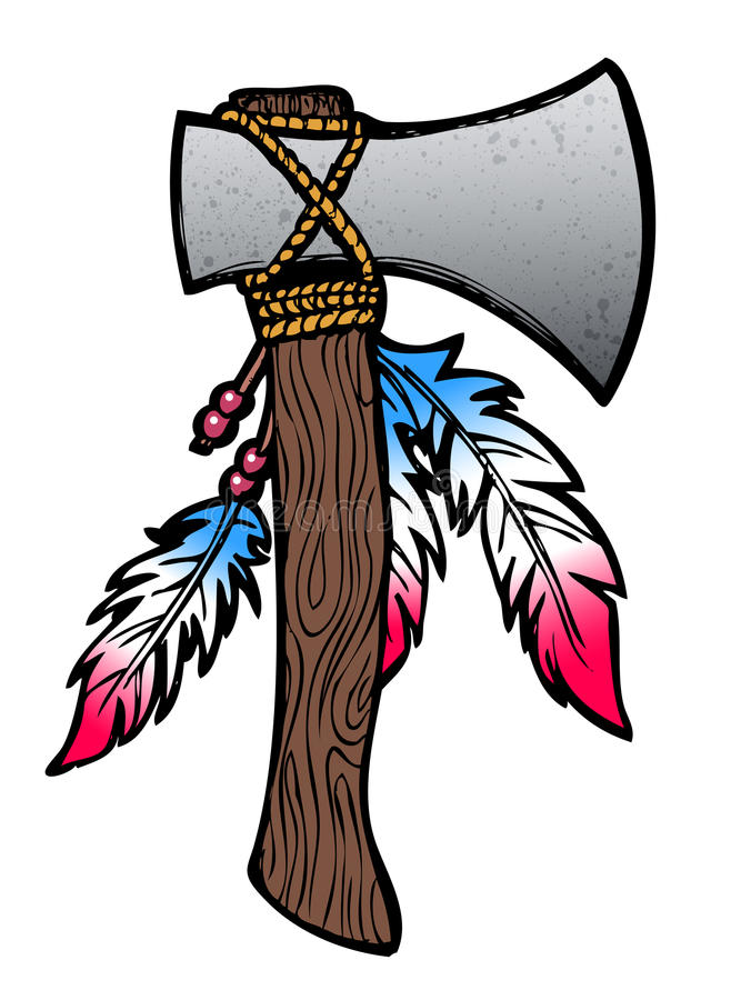 Hatchet illustration. Hatchet axe drawing with feathers and beads vector illustration