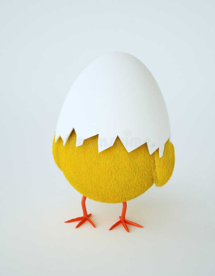 Hatching chicken. Getting ready for Easter royalty free illustration