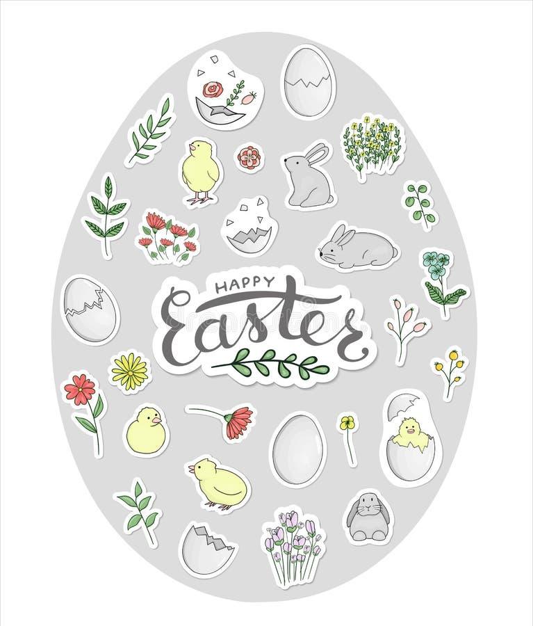 Vector set of Easter stickers framed in egg shape. vector illustration