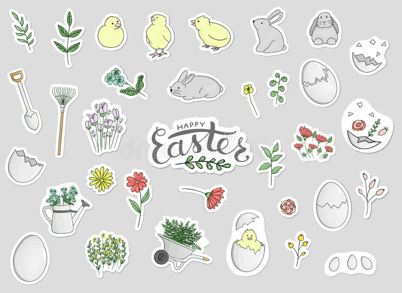 Vector set of Easter stickers stock illustration