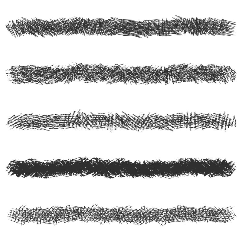 Hatching pencil stroke lines, set of black pen strokes isolated on white background royalty free illustration