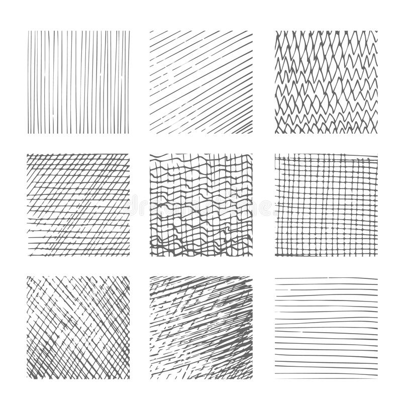 Hatching textures, cross lines, canvas pattern background vector set. Hatching textures, cross lines canvas patterns on white background vector illustration royalty free illustration