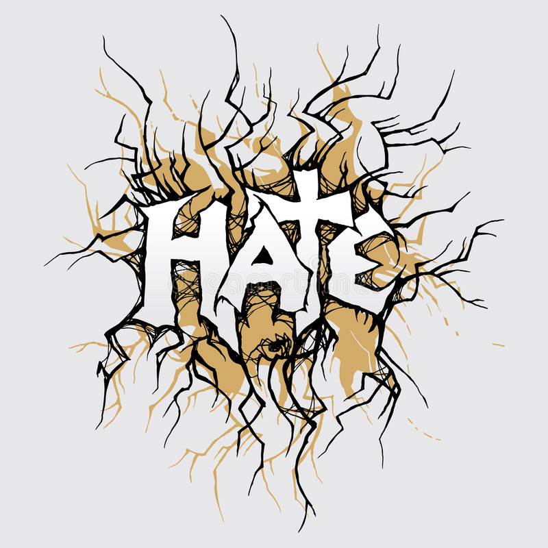Hate. Vector ornament In grunge style. The word hate is executed without application of a ready font, it royalty free illustration
