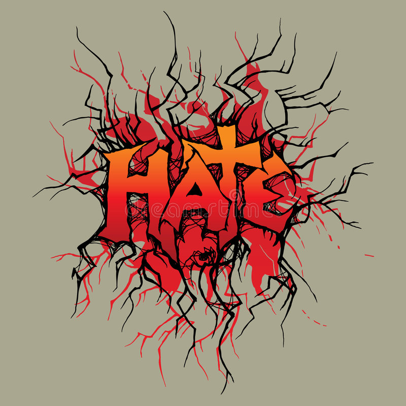 Hate. Vector ornament In grunge style. The word hate is executed without application of a ready font, it completely my work vector illustration
