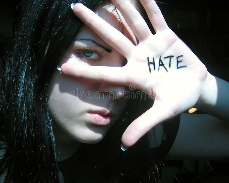 Hate. Angry girl stock photography