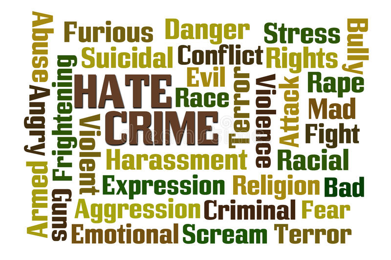 Hate Crime. Word cloud on white background stock illustration