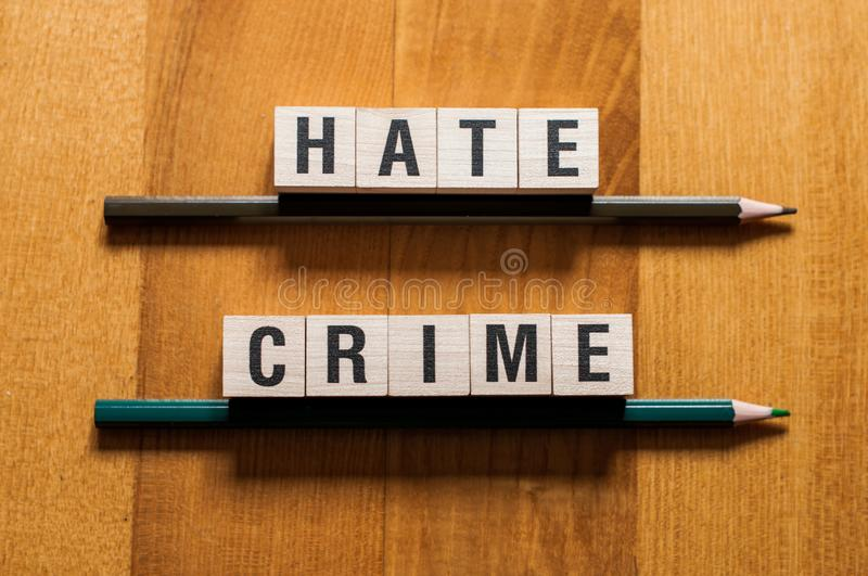 Hate crime words concept royalty free stock photography