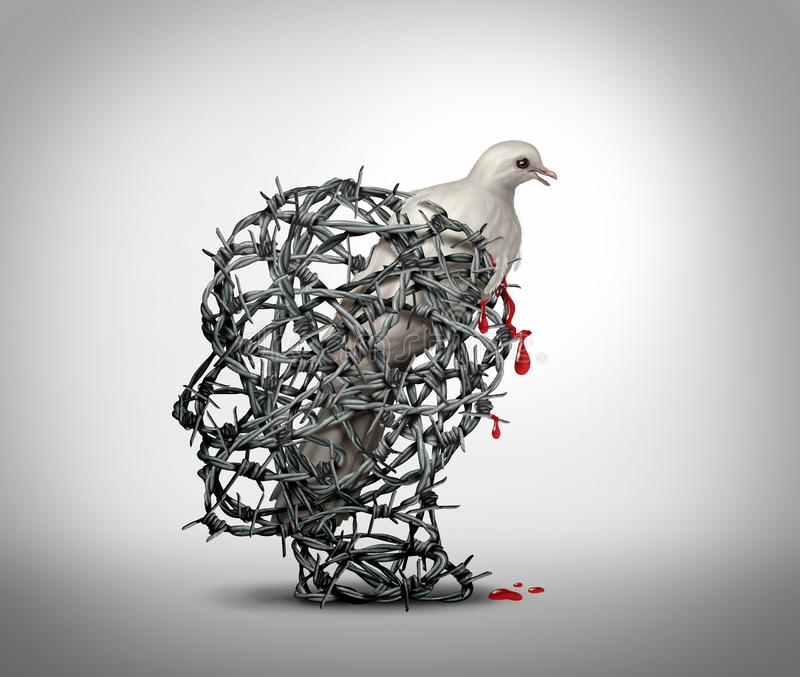 Hate Crimes Concept. Hate crimes and the mind of a terrorist concept as a human head made of barbed wire with a bleeding wounded white dove victim of violence as royalty free illustration