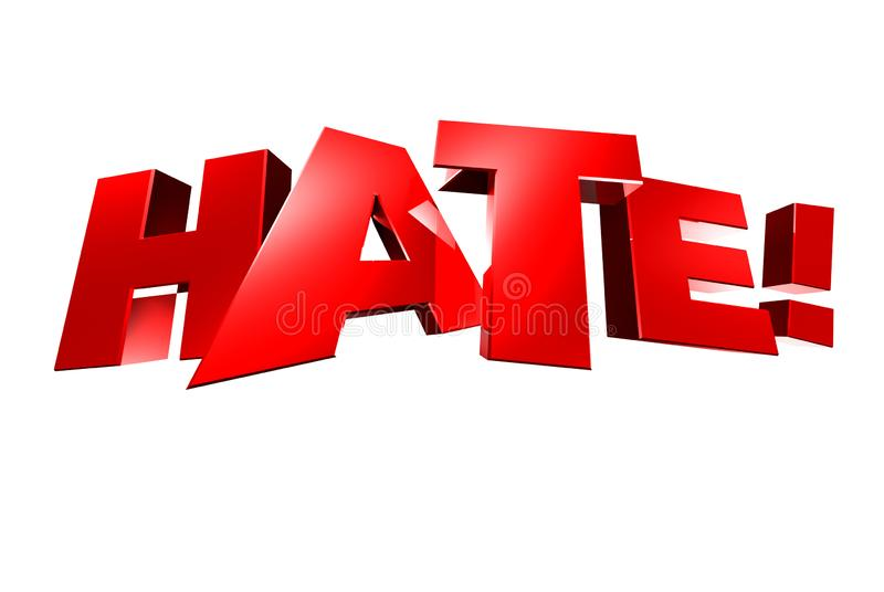 Hate 3D. Hate 3d,hate! white background royalty free illustration
