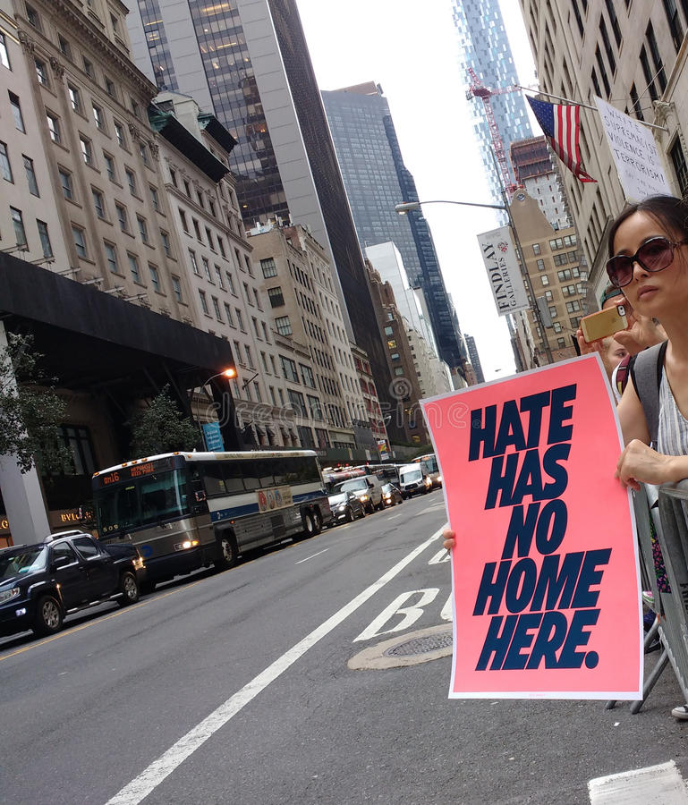 Hate Has No Home Here, Political Rally, NYC, NY, USA stock photography