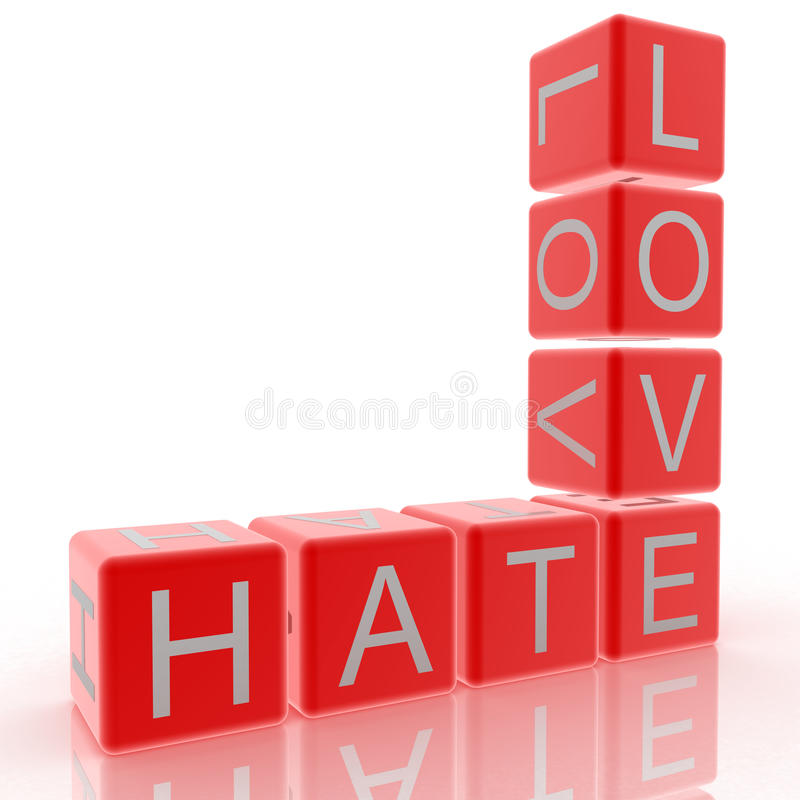 Hate and Love. Crossword love and hate together vector illustration