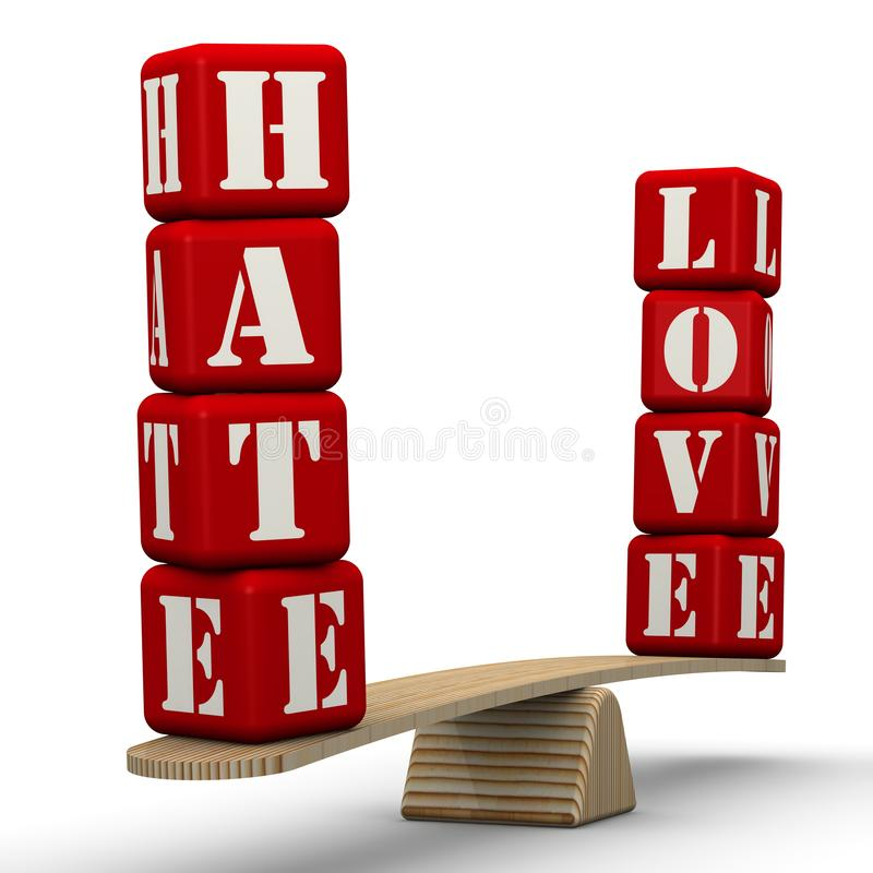 Hate or love. The words HATE and LOVE made from red cubes labeled with letters are weighed in the balance. The scales in the equilibrium position. Isolated. 3D royalty free illustration