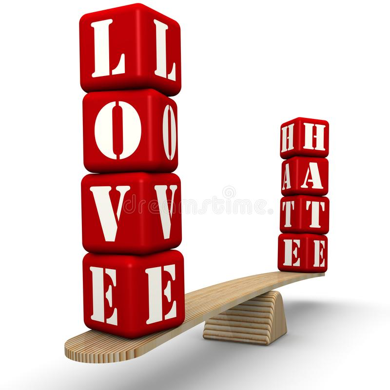Hate or love. The words HATE and LOVE made from red cubes labeled with letters are weighed in the balance. The scales in the equilibrium position. Isolated. 3D vector illustration