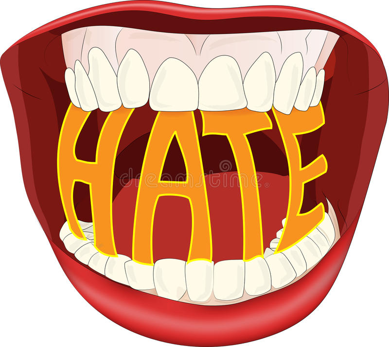 Hate. Modern illustration of the word hate in an open mouth royalty free illustration