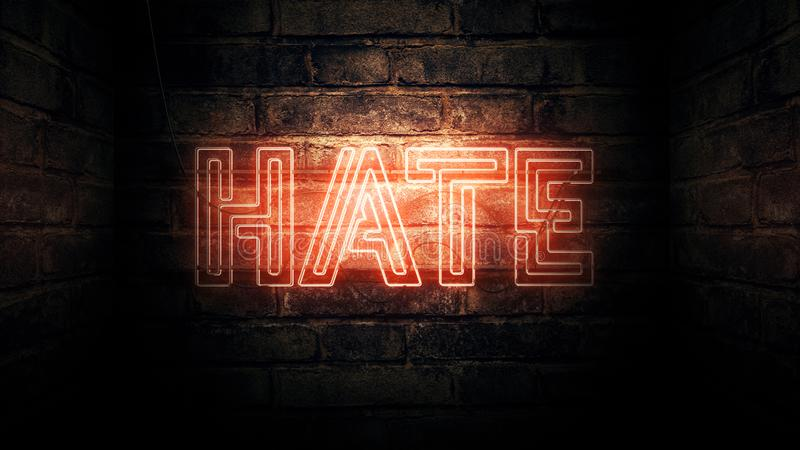 Hate Neon Sign. On brick wall, illustration vector illustration