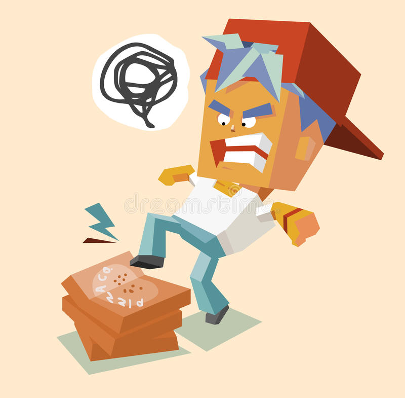 Hate pizza. Hate angry pizzaman. illustration vector illustration