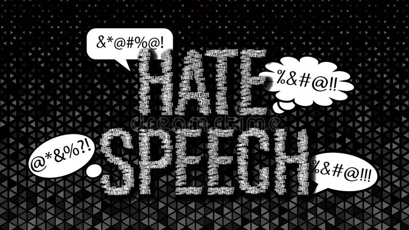 Hate speech and chat bubbles on dark background. stock illustration
