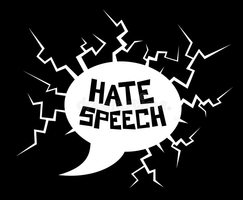 Hate speech. Destructive dialogue bubble as metaphor of violent, offensive and harmful talking and speaking. Vector illustration of verbal attack, assault and vector illustration
