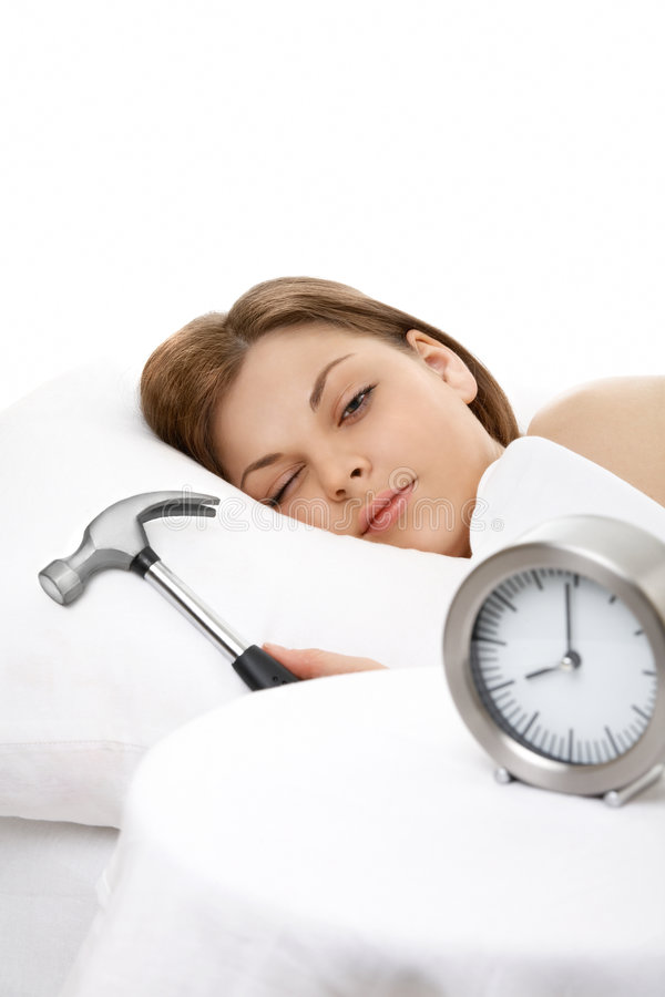 Hated alarm clock! royalty free stock image