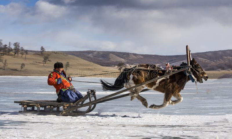 Mongolian people riding a sledge on a frozen lake Khuvsgul stock image