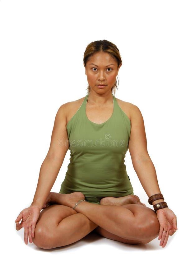 Hatha Yoga-Lotos-Haltung lizenzfreies stockbild